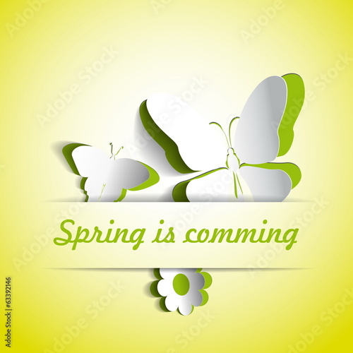 Spring is comming, Gift card theme with paper flower and two but