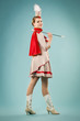 Majorettes girl posing with stick