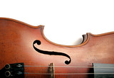 Fototapety Old scratched violin on white background