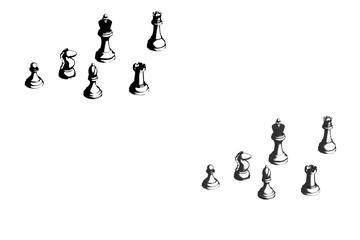 チェスの駒(グレーと白黒のセット)