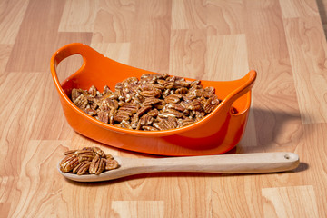 Wooden spoon surving nuts