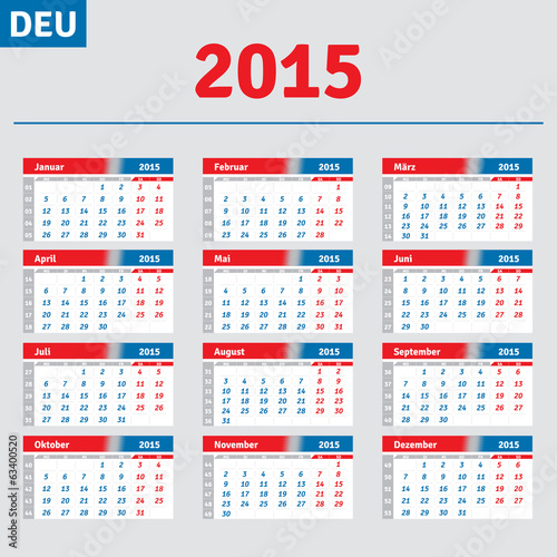 German calendar 2015, horizontal grid for quarterly calendar