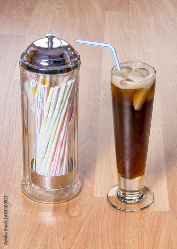 Tall glass cola and straw holder