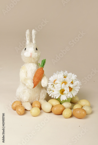 Easter Bunny with Carrot and Eggs