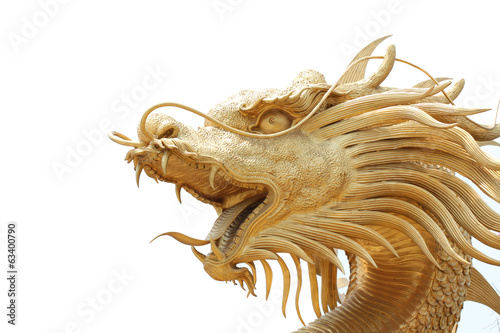 Head Golden dragon statue.