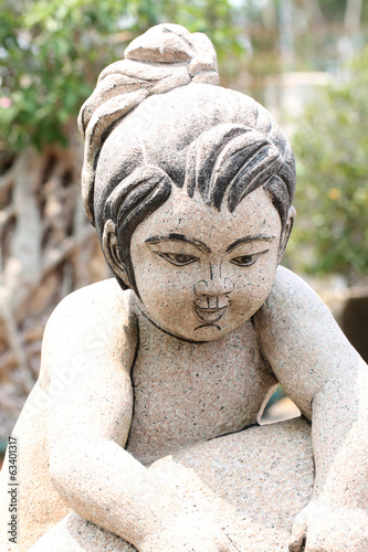 Chinese children of statues.