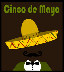 cinco de mayo graphic design with sombrero