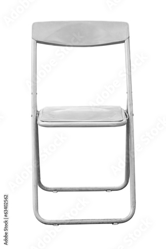 Gray folding chair isolated