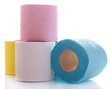Colorful toilet paper rolls isolated on white