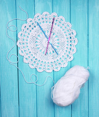 White yarn for knitting with napkin and spokes