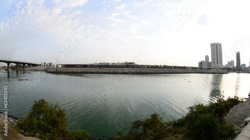 jeddah downtown waterfront at morning with fisheye lens