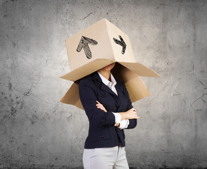 Woman with box on head