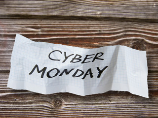 """word""""  cyber monday """"  on torn paper"""
