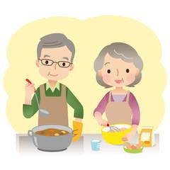 料理をする夫婦 高齢者