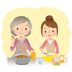 料理をする親子 高齢者