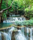 Deep forest waterfall at Huay Mae Khamin, Kanchanaburi