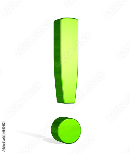 Green 3d exclamation mark
