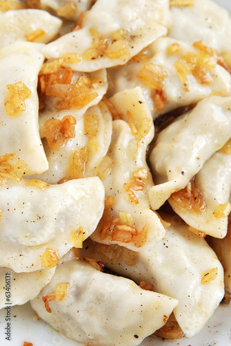 Dumplings with meat and fried onions