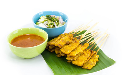 Pork Satay with Peanut Sauce on white background