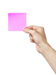 adult man hand showing sticky note