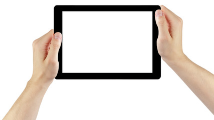 adult man hands holding generic tablet pc with white screen