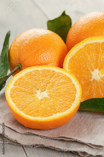 canvas print picture ripe oranges on wooden table
