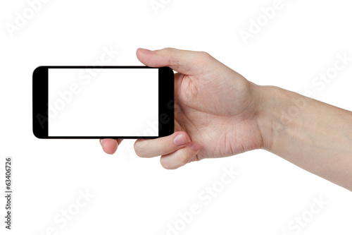 adult man hand taking photo with generic smartphone - 63406726