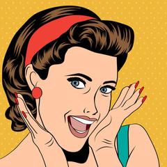 popart retro woman in comics style