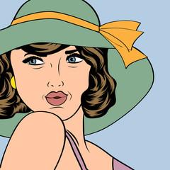 popart retro woman with sun hat in comics style, summer illustra