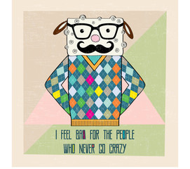 cool sheep hipster, hand draw illustration