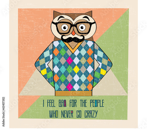 cool owl hipster, hand draw illustration