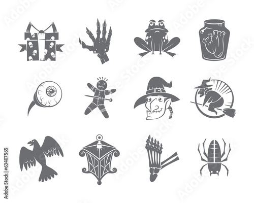 Halloween Icons Set. Isolated. Solid style.