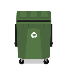 Wheeled garbage can with recycling symbol empty