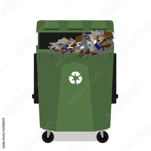 Wheeled garbage can with recycling symbol full