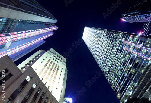 Modern building from low angle at night