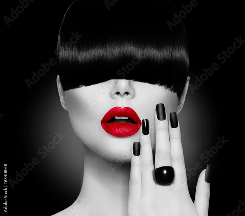 Fashion Model Girl with Trendy Hairstyle, Makeup and Manicure - 63408501