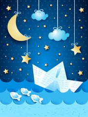 Fantasy seascape with paper boat, by night