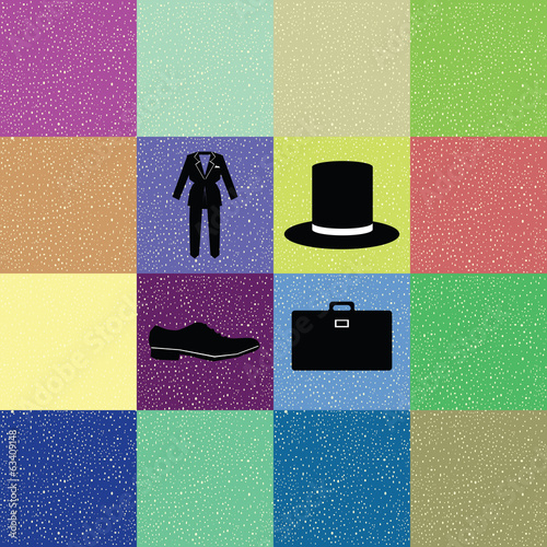 colorful background of gentleman costume in retro style