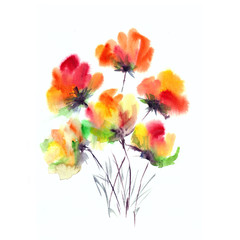 Floral background. Watercolor floral bouquet.