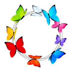 Round frame with color butterflies