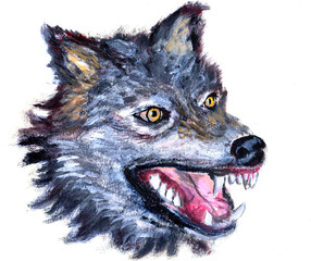 oil painting wolf head