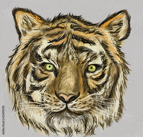 cg painting tiger head