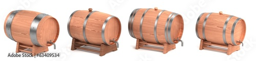 realistic 3d render of wine barrels