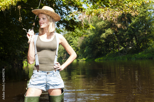 woman fishing in Jizera river, Czech Republic
