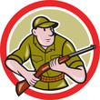 Hunter Carrying Rifle Cartoon