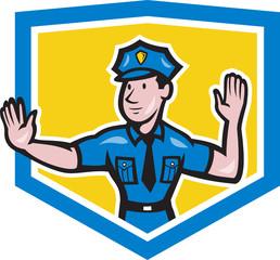 Traffic Policeman Stop Hand Signal Shield Cartoon