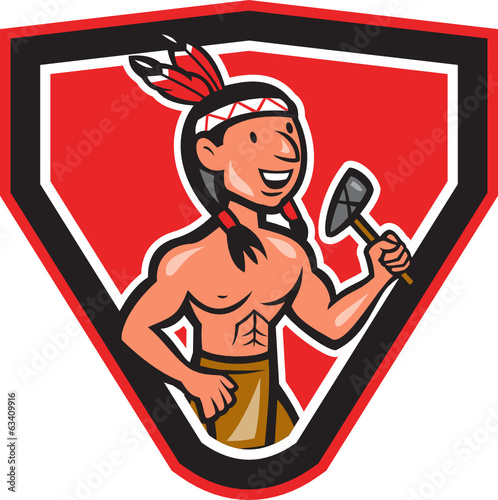 Native American Holding Tomahawk Cartoon