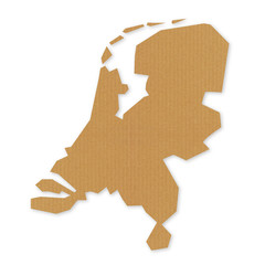 Map of Netherlands - recycled cardboard texture