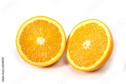 Halved fresh and healthy Orange Fruit isolated white background