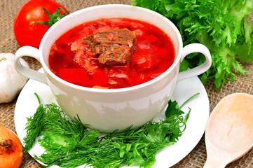 Traditional Russian-Ukrainian borscht soup